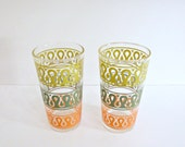 Vintage Pair of Retro Drinking Glasses with Teal, Yellow, Orange Pattern