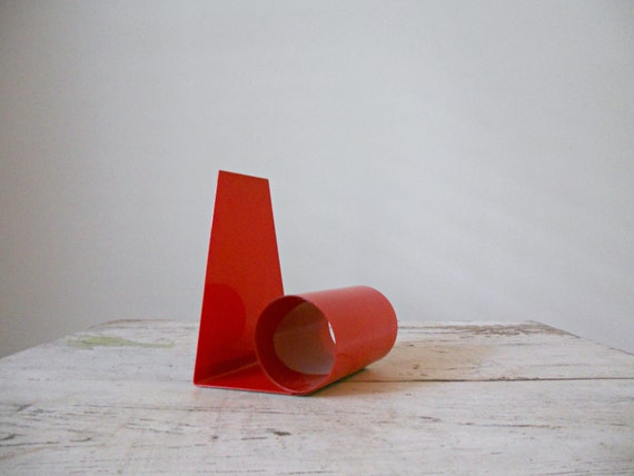 Vintage Coil Bookend - Red Metal, Mod Bookend, Expanding