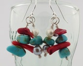 Reserved for Brenda: Silver, real turquoise, coral and freshwater pearl dangles