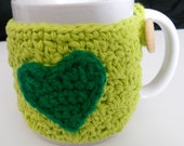 SALE 15 Percent Off Crochet Coffee Cup Cozy, Mug Cozy, Lime, Green, Heart, Tea Cozy