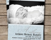 Baby Boy Birth Announcement Vintage Blue Photo Birth Announcement Card. Soft Blue Damask DIY Digital or Printed - Anthony Style