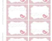 Avery Label INSTANT DOWNLOAD Little Bird Candy Buffet Food  Mailing Labels. Pink Gray Quatrefoil, Printable. Stickers, Table and Favor Tags.