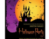 Halloween Party Invitation Haunted House Silhouette Bats Spooky Ghosts Fall Autumn Invitation DIY Digital or Printed- Smith Style