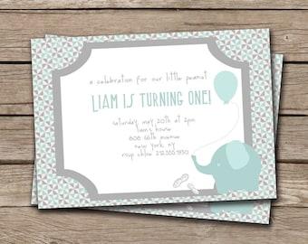 Baby Elephant Boy First Birthday Invitation. Invite Little Peanut Blue Gray FREE PRIORITY SHIPPING or DiY Printable - Liam
