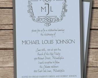 Michael Classic Monogram Initials Christening Baptism Party Invitation. Baby Boy. Custom Colors. Sky blue & Gray. Printable or I Print.