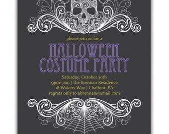 halloween party invitation adult costume party invitation, party invitations
