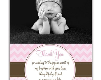 Photo Baptism Thank You Card Photo Christening 5x7 Flat Card. Girl or Boy Modern Chevron DIY Digital or Printed - Gianna Collection