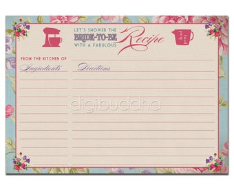 Recipe Card INSTANT DOWNLOAD Bridal Shower Vintage Rose 4x6 DIY Printable or Printed Fill-In Recipe Card Retro Vintage Rose - Jackie Style