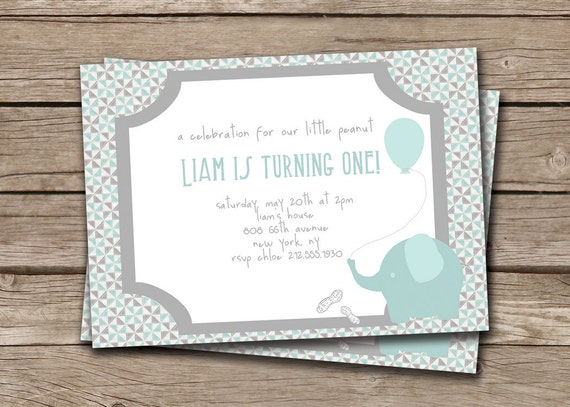 Baby Elephant Boy First Birthday Invitation. Invite Little Peanut Blue Gray FREE PRIORITY SHIPPING or DiY Printable - Liam