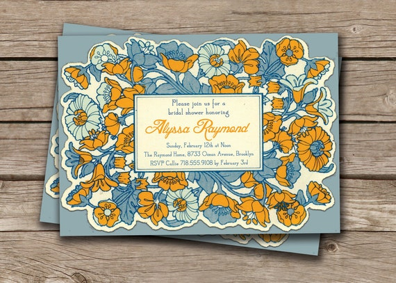 Vintage Watercolor Flowers Bridal Shower Invitation 5x7 Golden Yellow Blue Floral Frame FREE PRIORITY SHIPPING or DiY Printable- Alyssa