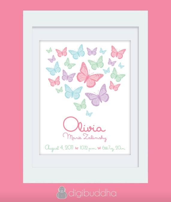 Olivia Custom Birth Announcement Wall Art Print. Butterflies. Printable DIGITAL File. Baby Girl 8x10 Poster Artwork Lilac Pink Green Blue