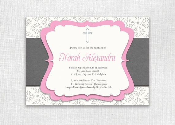 Classic Baptism Invitation Pink and Gray Girl Christening Birthday Cross Butterflies FREE PRIORITY SHIPPING or DiY Printable - Norah