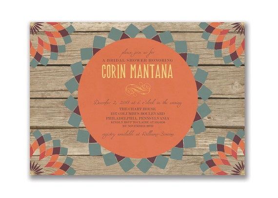 Rustic Bridal Shower Invitation Autumn Rustic Baby Shower Autumn Wedding Invitation Orange Slate Maize DIY Digital or Printed - Corin Style