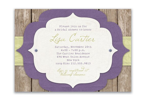 Rustic Bridal Shower Invitation Vintage Rustic Wedding Invitation Purple Sage & Wood FREE PRIORITY SHIPPING or DiY Printable - Lisa