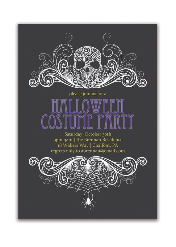 Halloween Party Invitation Adult Costume Party Invitation Gothic Skull Spider Grown Up Invitation DIY Digital or Printed- Brennan Style