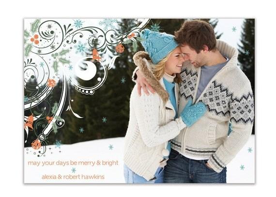 Photo Christmas Card Modern Snowflakes Full Photo Holiday Card Merry & Bright Greeting Card DIY Digital or Printed - Hawkins style