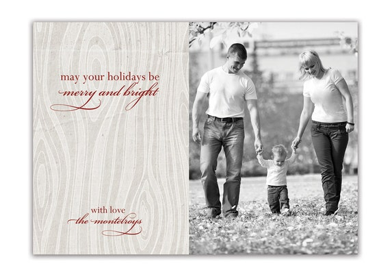 Photo Christmas Card Rustic Wood Grain Script Typography Black and White Holiday Card Greeting Card DIY Digital or Printed - Montelroy style