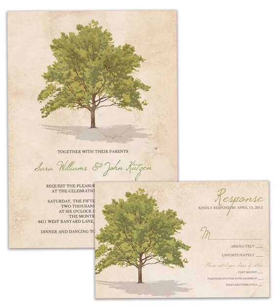 Tree Rustic Wedding Invitation and RSVP Suite Vintage Wedding Invitation and Response Card DIY Digital or Printed - Sara & John Style