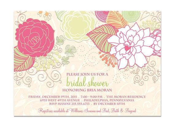 Bridal Shower Invitation Shabby Chic Floral Baby Shower Wedding Invitation Bright Summer Gelato DIY Digital or Printed - Bria Style