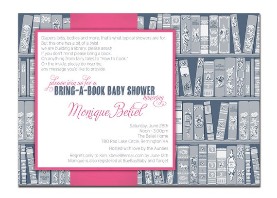 Bring A Book Baby Shower Invitation Baby Girl Navy and Pink Storybook Baby Shower Books DIY Printable or Printed - Monique Style