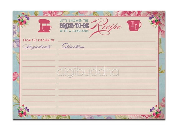 recipe card instant download bridal shower vintage rose 4x6 diy printable or printed fillin recipe card retro vintage rose jackie style from