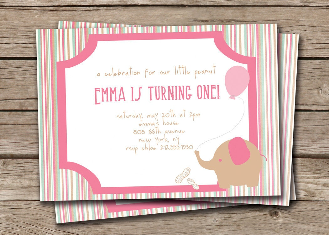 Elephant Birthday Invitation Little Peanut Baby Elephant First