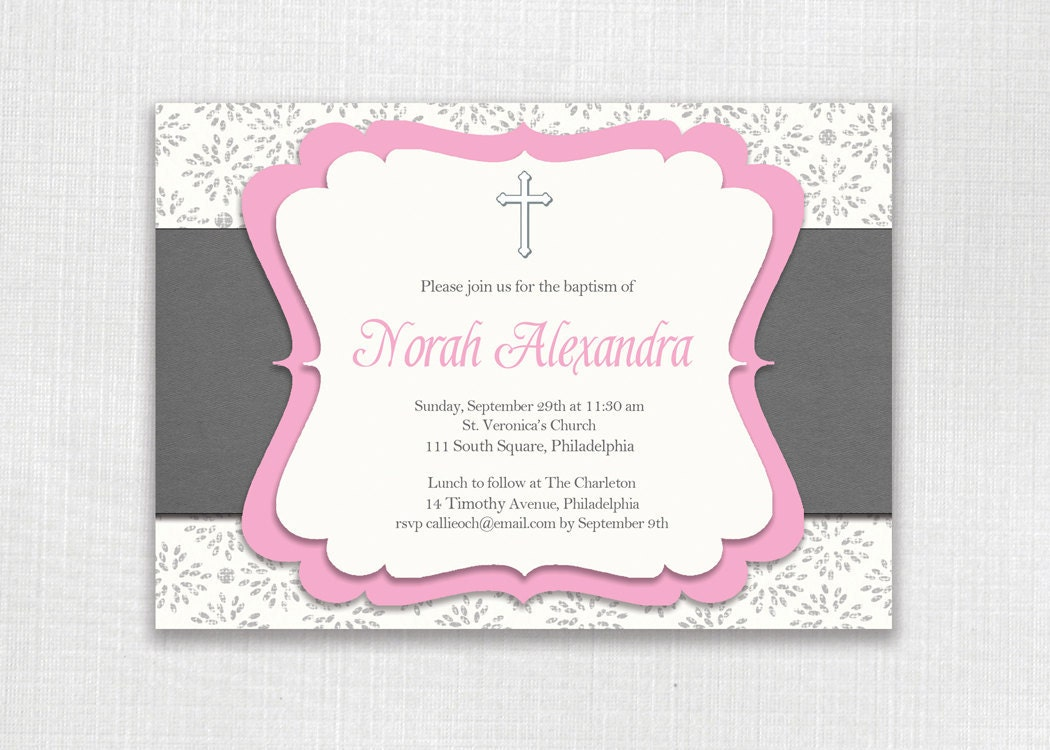 Classic Baptism Invitation Pink and Gray Girl Christening