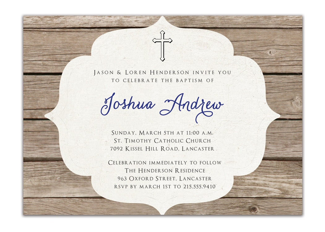 Baptism Invitation Rustic Christening Invitation Girl Or Boy
