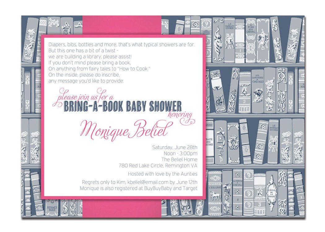 Bring A Book Baby Shower Invitation Baby Girl Navy and Pink