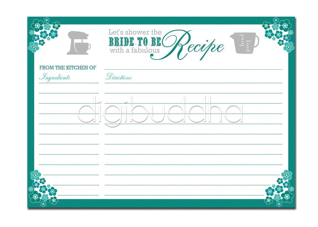 Recipe Card Bridal Shower Teal Aqua Floral 5x7 4x6 3.5x5 DIY