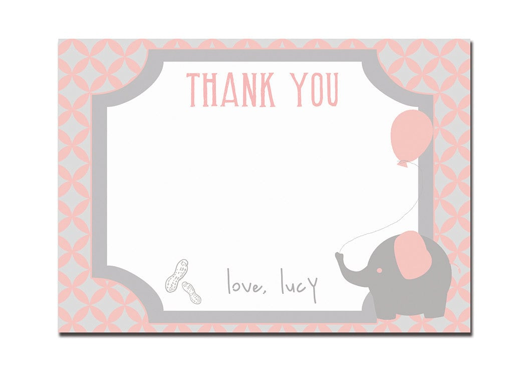 Elephant Thank You Card Baby Birthday Thank You First Birthday