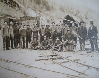 Vintage  photo with Kellogg Idaho Railroad workers and or miners.