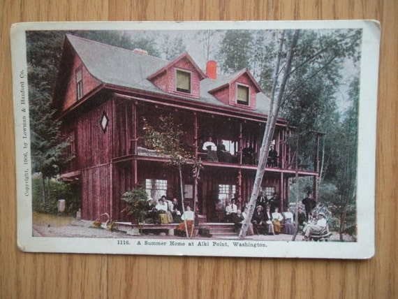 Vintage Postcard.. Summer Home at Alki Point Washington post card