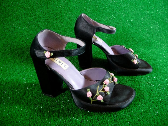 Black Platform Mary Jane Sandals with Rosettes and Chunky Heel 90s