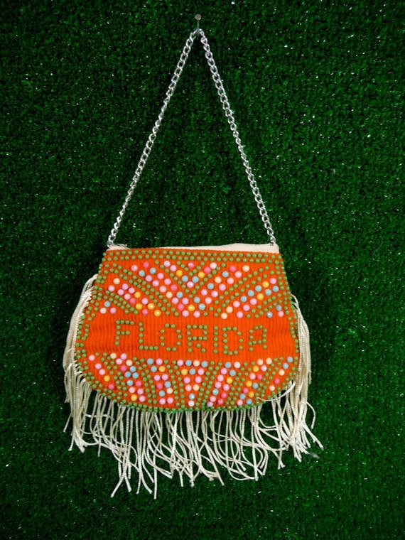 Florida Beaded Neon Orange Fringe Mini Chain Bag