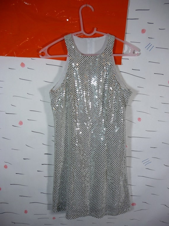 Silver Sequin Mini Dress 90s Club Kid Clueless Rave