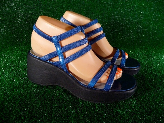 Blue Glitter Platform Strappy Elastic Sandals 90s Raver Club Kid size 8