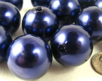 Pearl Beads chunky Navy Blue Round Imitation Pearl 24mm