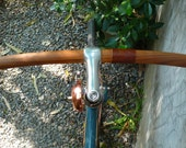 """bicycle handlebar & leather monogram of """"your name"""" - solid TEAK wood with genuine leather"""