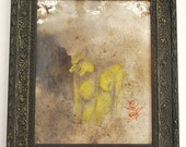 original watercolor painting, yellow nude with textures