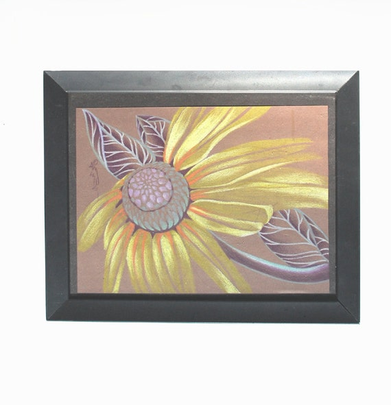 purple and yellow daisy, floral art, yellow flower