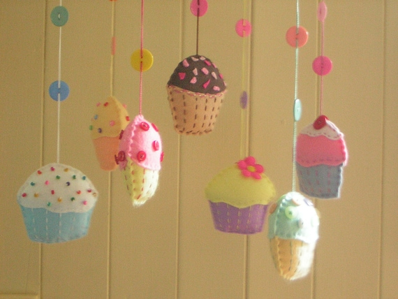 LAST ONE Cupcake mobile with felt cupcakes.  Ready to ship. An original design by Patchwork Pawprint.