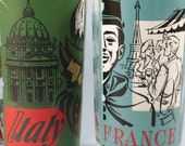 retro glass set coca-cola Spain Italy France world travel glasses vintage print