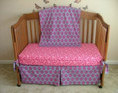 SALE***3 Piece, Custom  Crib Bedding, Crib Blanket, Crib Skirt, and Fitted Sheet- You Choose the Fabric