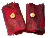 Red Felted Cuffs, Felt Bracelets,  Wrist Warmers, Australian Merino Wool Claret Red Burgandy Tasmanian Wattle Wood Button