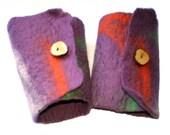 Purple Felted Cuffs, Felt Bracelets, Wrist Warmers, Australian Merino Wool Orange Green White Tasmanian Wattle Wood Button