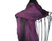Nuno Hand Felted Scarf Australian Merino Wool and Silk Magenta Purple and Black
