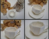 100% Wool Felt Cup and Saucer White