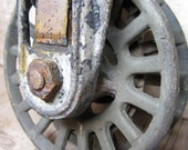Antique Industrial Wheels or Pulley Cast Iron Ornate Factory Mill