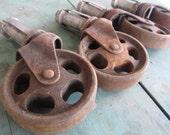 Antique Set of 4 Cast Iron Castor Wheels Machine Age Industrial Cart